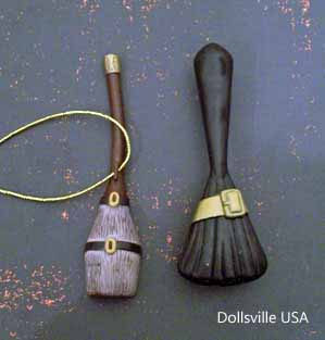 Broomstick (left), hairbrush shaped like broomstick (right).