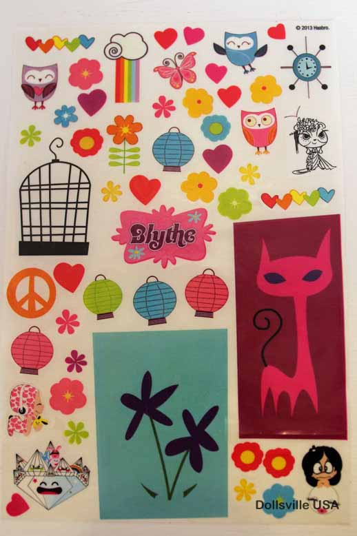 Fun sticker sheet with which to decorate Blythe's bedroom walls